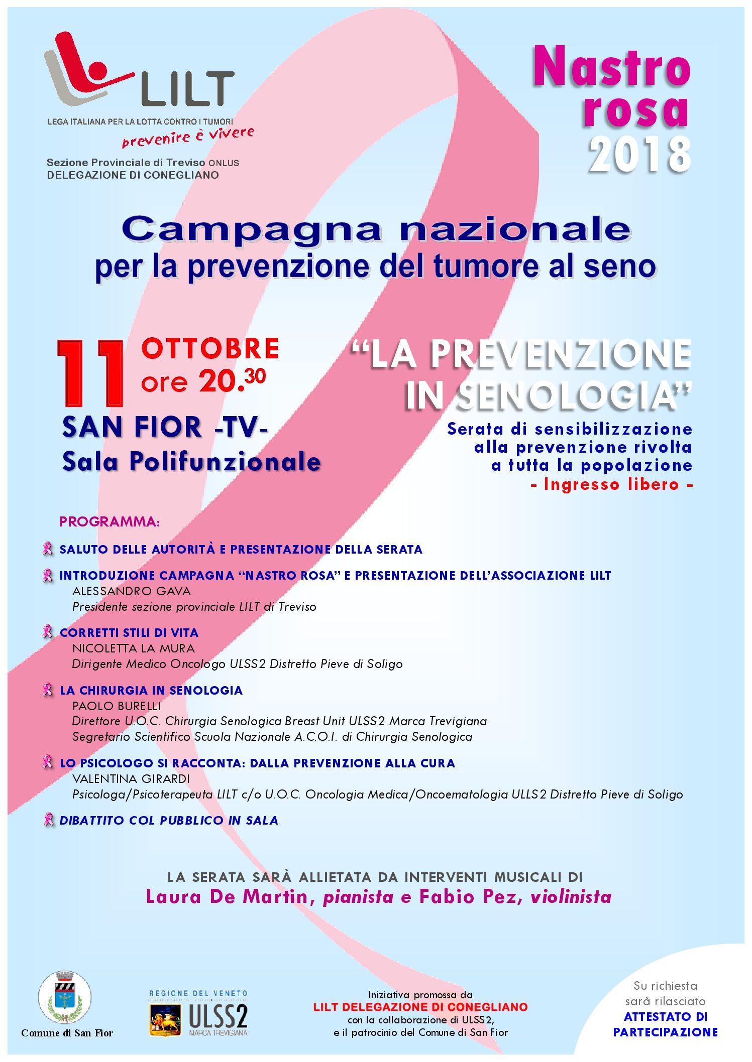 """11.10.2018 San Fior """"La prevenzione in senologia"""""""