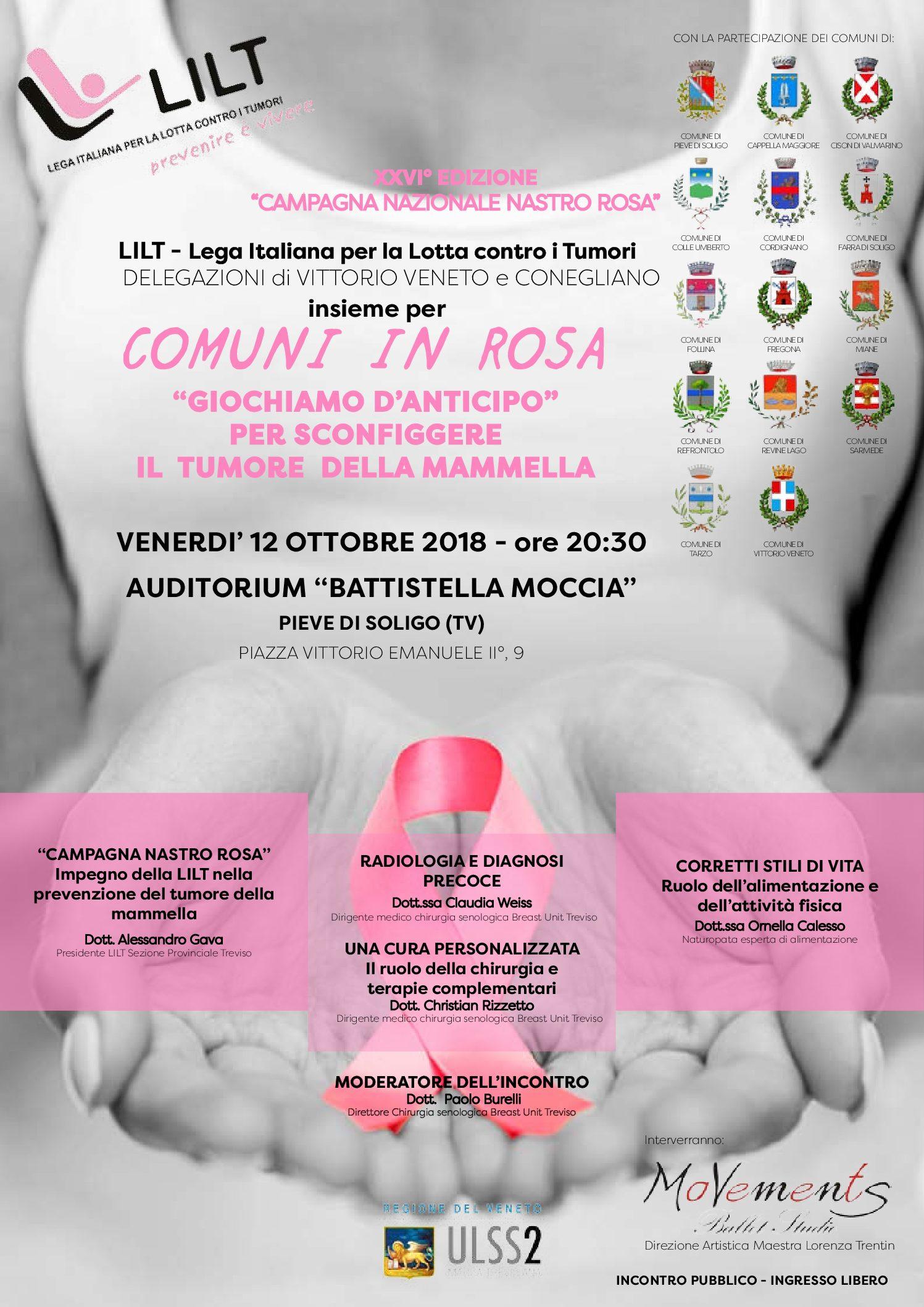 """12.10.2018 Pieve di Soligo """"Giochiamo d'anticipo"""" per sconfiggere il tumore della mammella"""