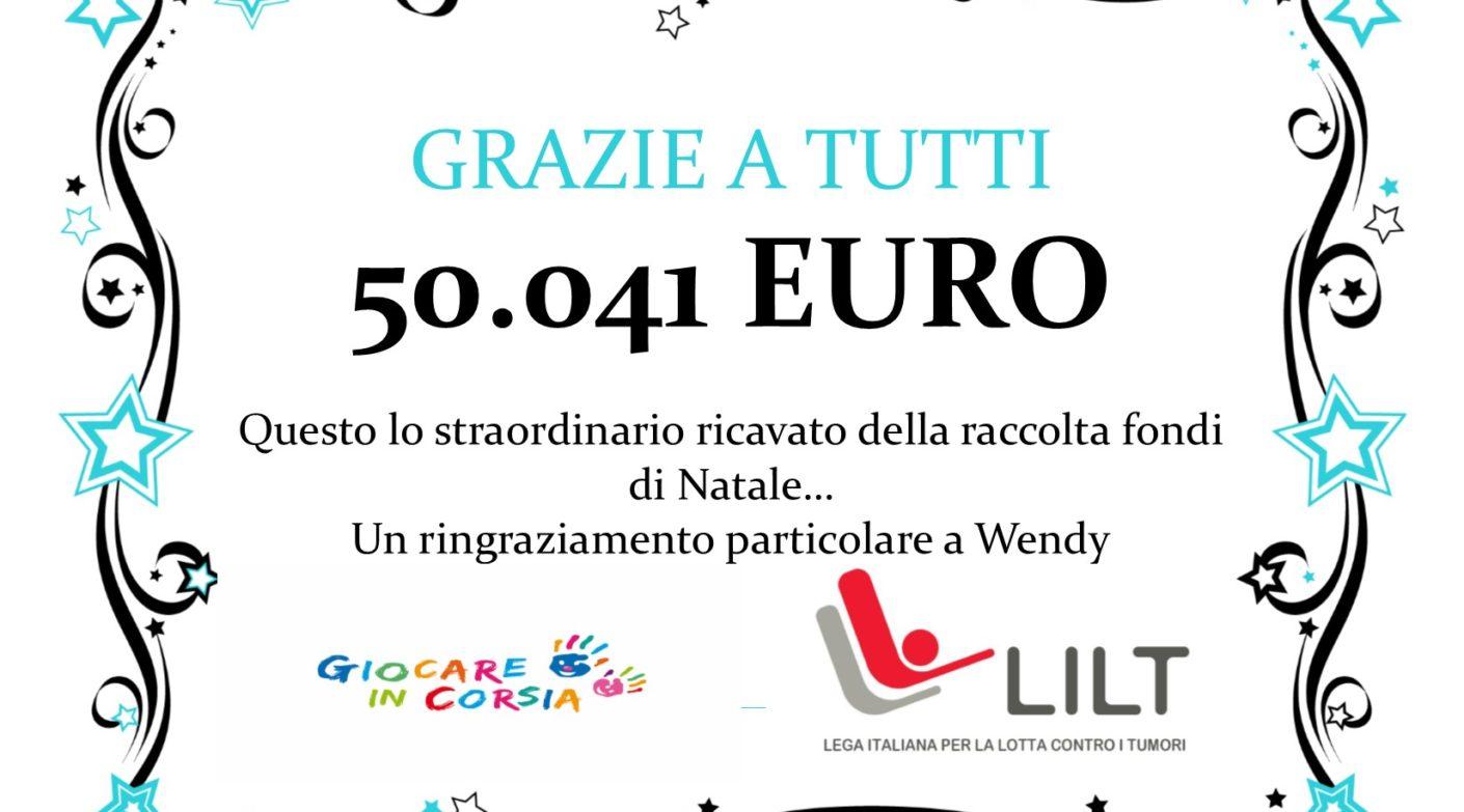 50.041 euro, si può dire qualcosa oltre a grazie?