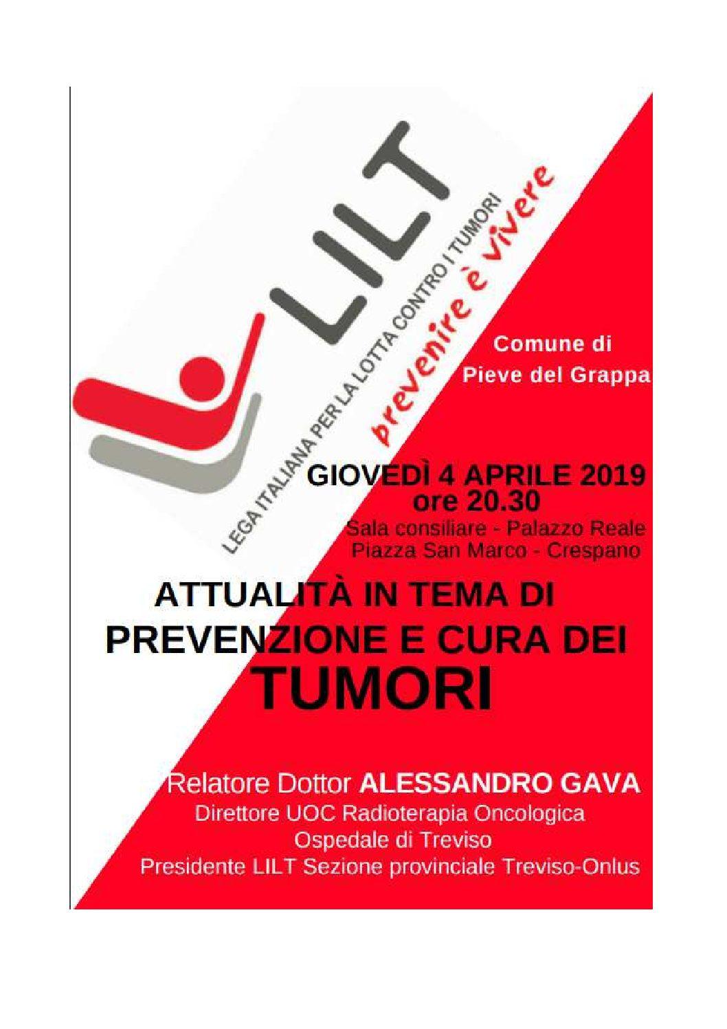 Crespano, 4 aprile - Serata dedicata alla prevenzione