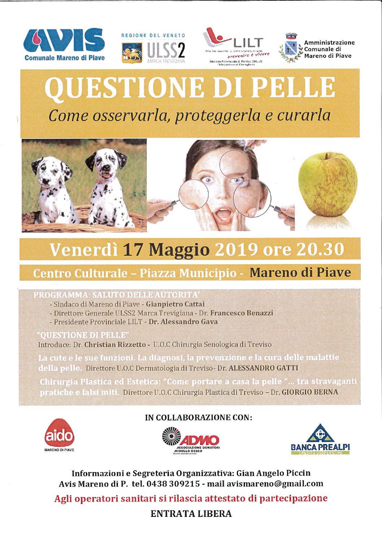"""Mareno di Piave, 17.05.2019 – Convegno """"Questione di Pelle…"""""""