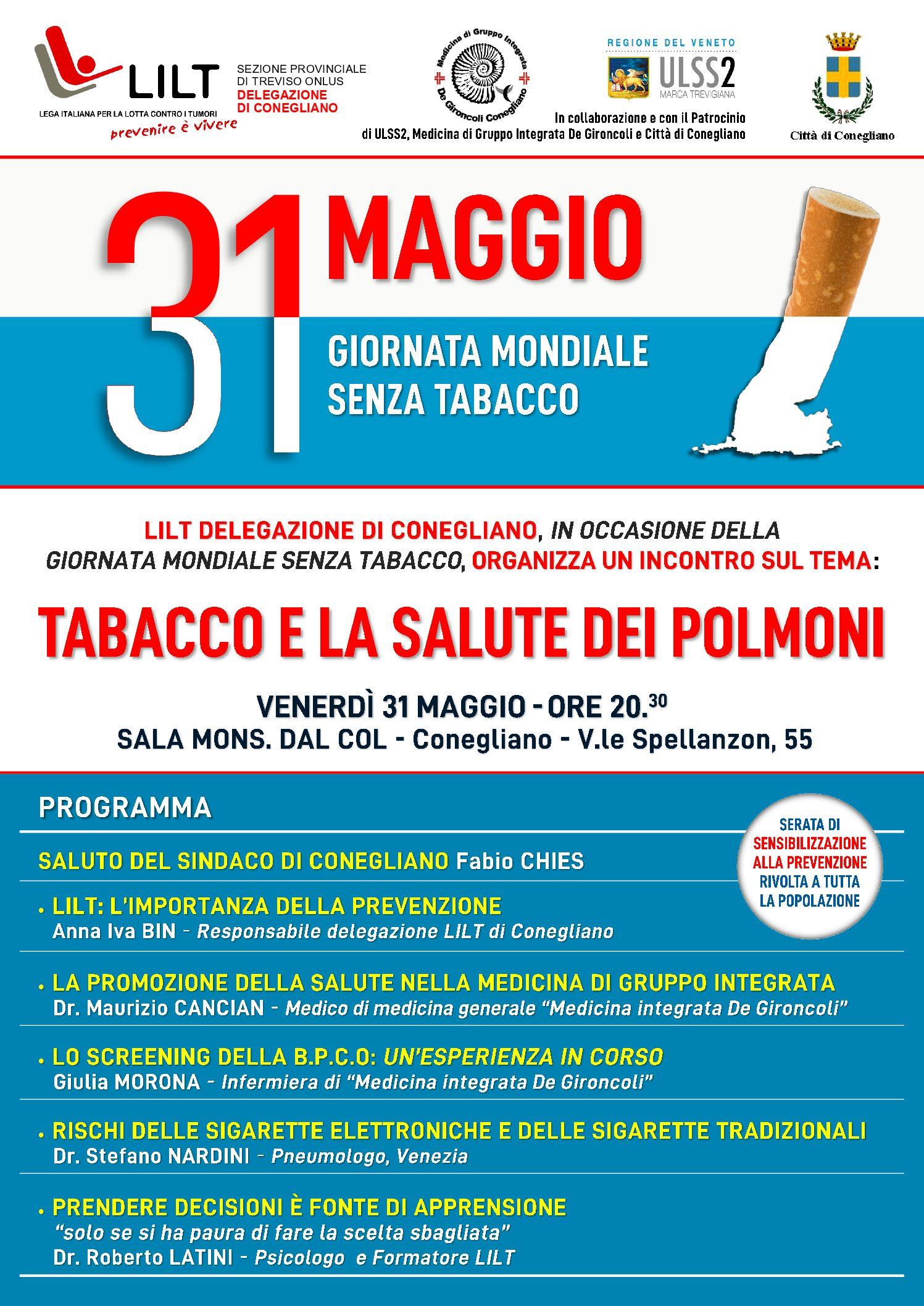 """31.05.2019 A Conegliano incontro su """"Tabacco e la salute dei polmoni"""""""