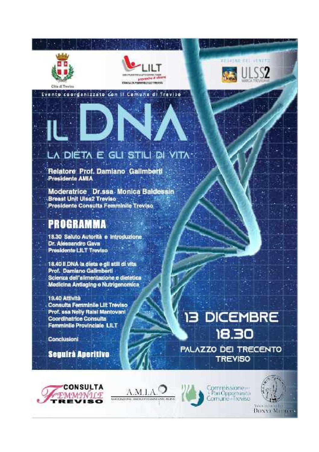 Treviso, 13.12.19 Il Dna, la dieta e gli stili di vita